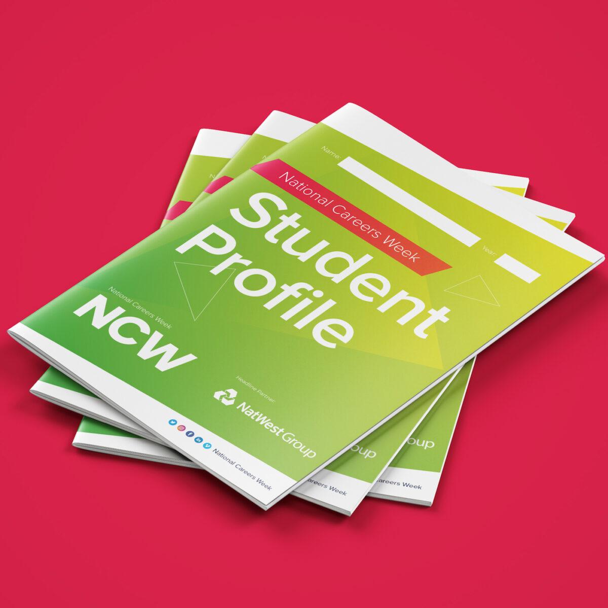 National Careers Week student profile booklet mockup.