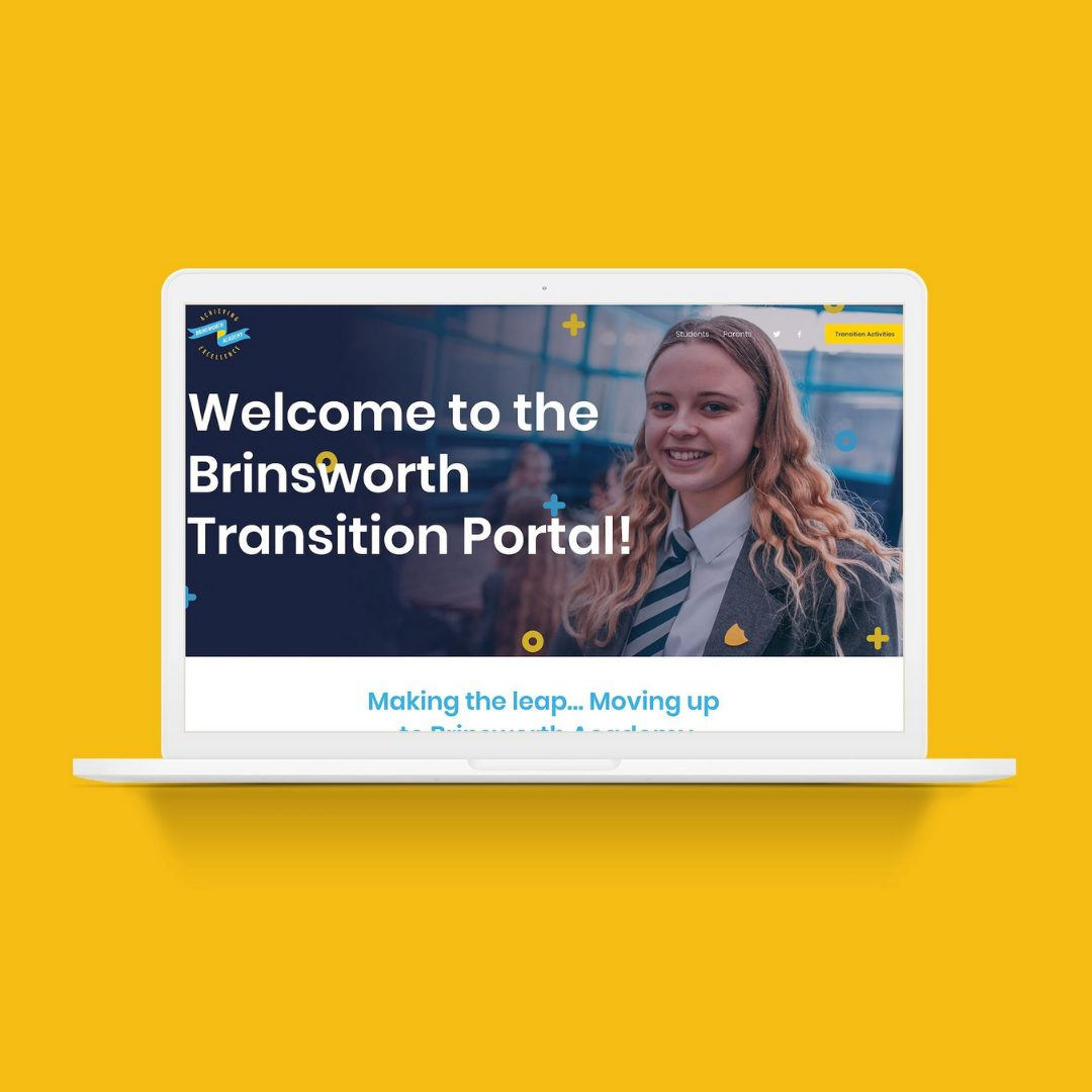 Mockup of Brinsworth Academy's Transition site on a laptop.