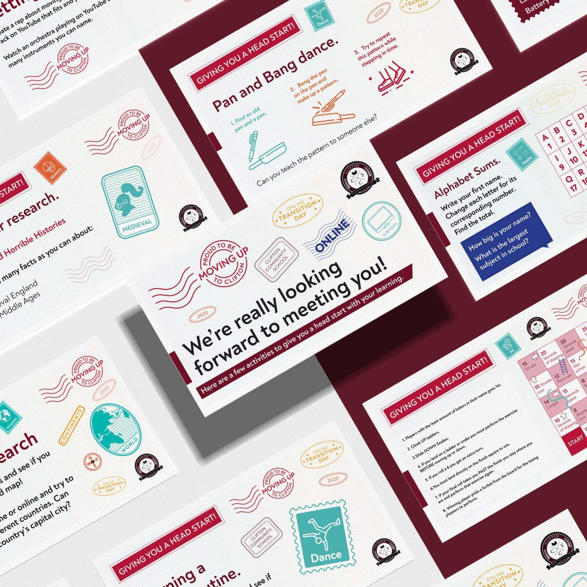 A mockup of several short activities and postcard themed social media graphics.