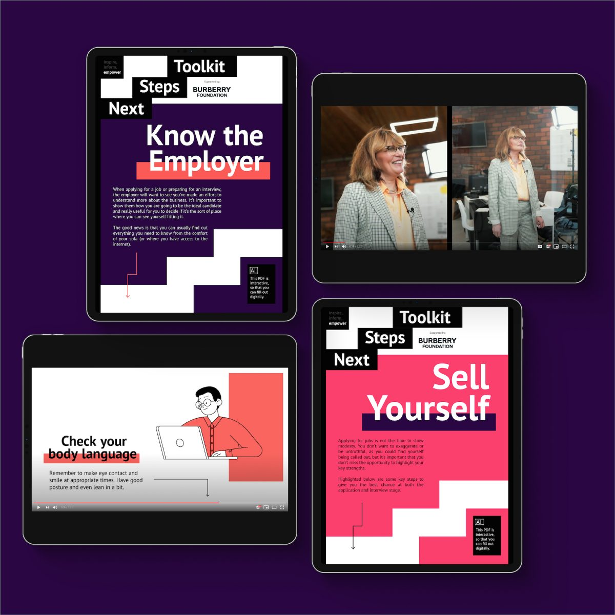 Mockup of careers education on tablet devices.