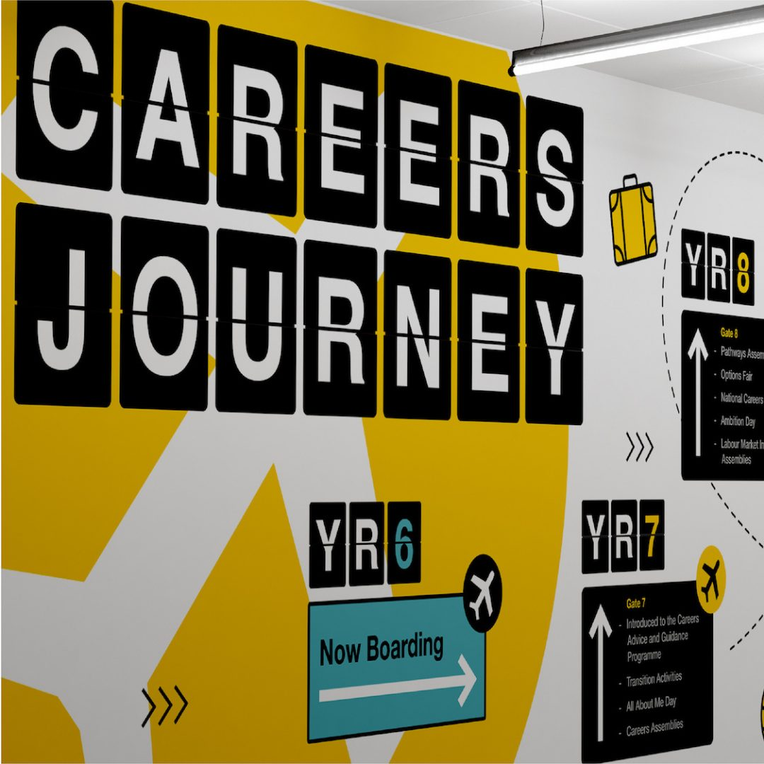 Black yellow and white wall with career journeys in the style of an aiport.