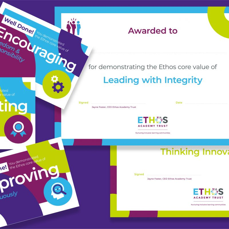 Awards and certificates for trust vision and values